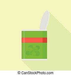 Peas tin can icon, flat style