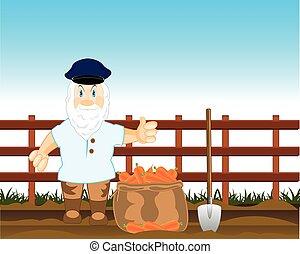 Peasant digs carrot