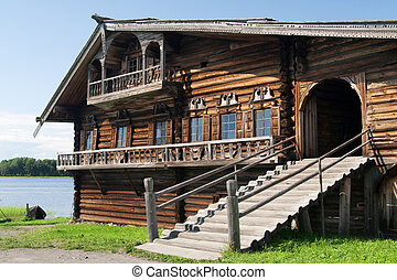 Peasant house in Kizhy island. Karelia, Onega lake, Russia