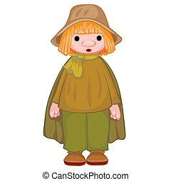 peasant in a gray hat and black cloak, doll, isolated object on a white background, vector illustration,