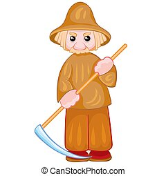 peasant in a gray hat with a scythe in his hands, doll, isolated object on a white background, vector illustration,