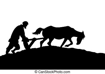 peasant silhouette on white background,