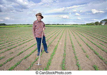 Peasant with hoe in the field