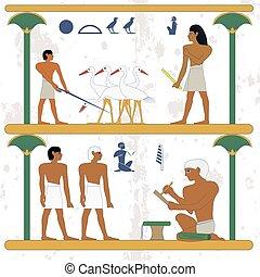 peasants., 人々, 仕事, scene., ciconia, エジプト, 古代, nobleman, もつ, census, 小作農, 歴史的, バックグラウンド。, 筆記者, farmind