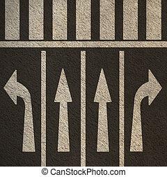 peatón, crosswalk, calle, flechas, direccional