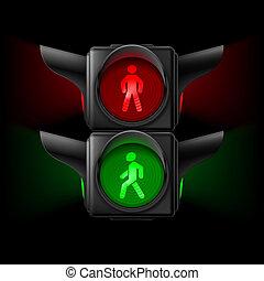 peatón, semáforo