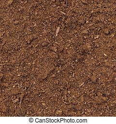 Peat Turf Macro Closeup, large detailed brown organic humus soil background pattern, vertical