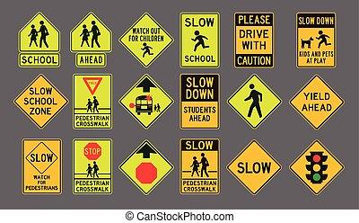 peatones, señales, camino