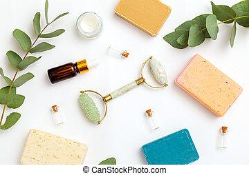 peau, apothicaire, soin, copie, produits, organique, space., rouleau, figure, blanc, arrière-plan.