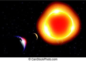 peau, autour de, ), (, mouvement, éclipse, lumière soleil, lune, vecteur, solaire, mondiale