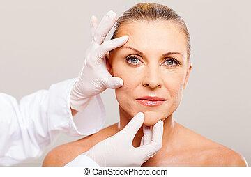 peau, chirurgie, avant, chèque, plastique
