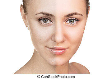 peau, concept., femme, jeune, soin