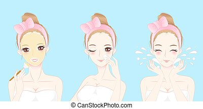 peau, femme, dessin animé, soin