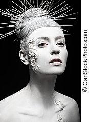 peau, girl, mode, beauty., art, créatif, hairstyle., inhabituel, blanc