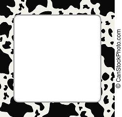 peau, vache, texture, résumé, vecteur, cadre