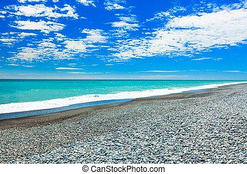 Pebble beach in new Zealand