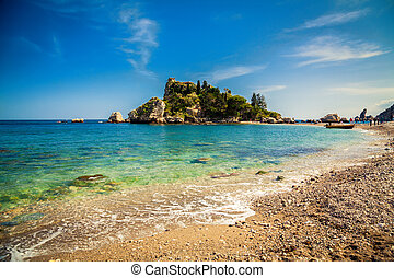 pebble beach Isola Bella in Taormina - pebble beach in front...