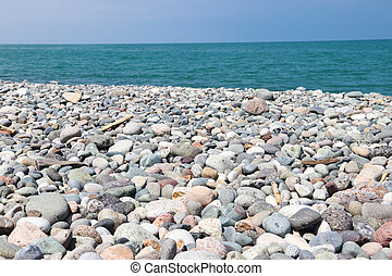 Pebble beach of the Black sea