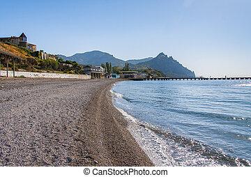 Pebble beach on the Black Sea coast