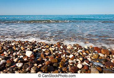Pebble beach on the Sea