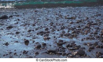 Pebble beach - Soft sea surf on pebble beach