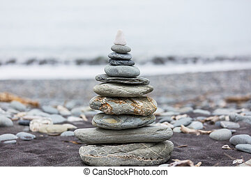 Pebble - pebble beach and gray spa stones