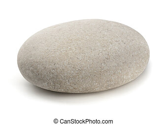Pebble - Single grey pebble isolated on white