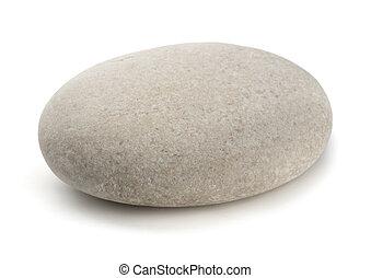 Single grey pebble isolated on white
