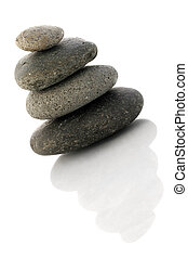 Pebble Stack - Pebble stack isolated with reflection
