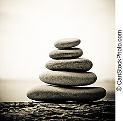 Pebble stack, shallow focus