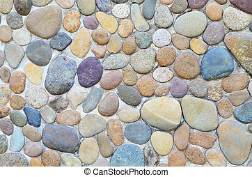 Pebble Stone In Cement Wall