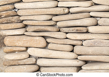 Pebble stone wall.