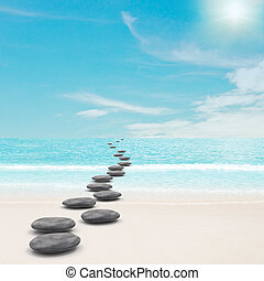 Pebble stones road concept. 3d and photo montage