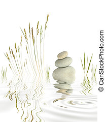 Pebbles and Grasses - Abstract of natural grey pebbles...