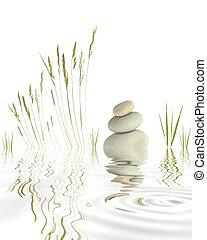 Pebbles and Grasses - Abstract of natural grey pebbles...