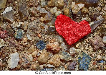 Pebbles - Heart - Macro shot of pebbles - colored heart