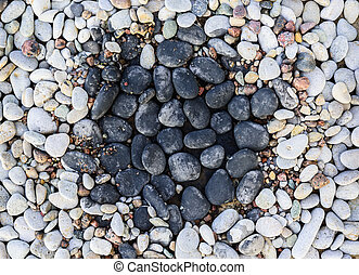 Pebbles in rock garden