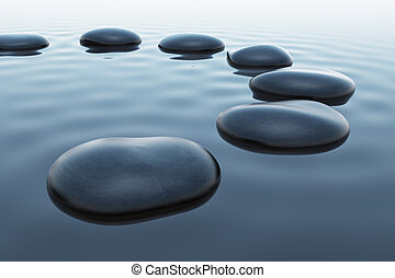 Pebbles in water. - Seven pebbles slightly immersed in water...