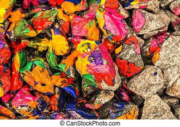 Pebbles painted bright paint color closeup