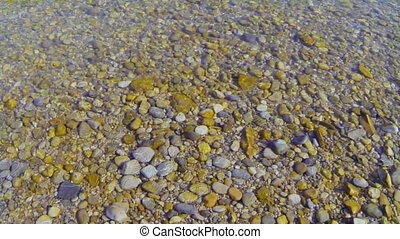 Pebbles in the water at a river bank.