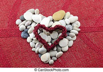 Pebbles shaped into a heart
