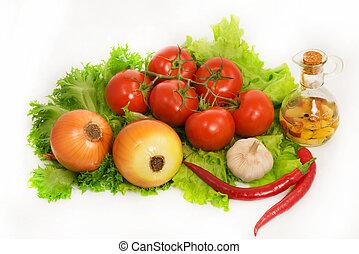 peber, løg, -, grønsager, lettuce, hvidløg, tomater, chilli