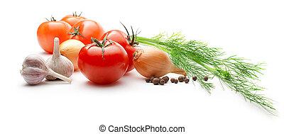 peber, løg, tomater, hvidløg, baggrund, hvid