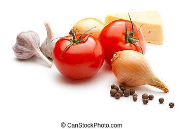 peber, løg, tomater, isoleret, hvidløg, baggrund, hvid, ost