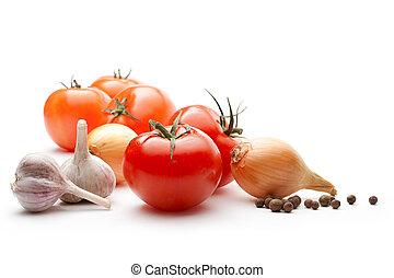 peber, løg, tomater, isoleret, hvidløg, baggrund, hvid