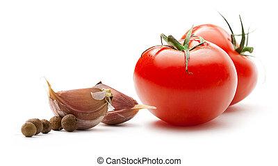 peber, løg, tomater