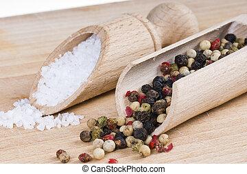 peber, salt.