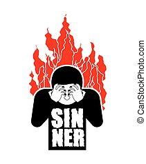 pecador, en, fire., omg., cubierta, cara, con, hands.,...