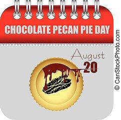 pecan, カレンダー, パイ, チョコレート, 8月