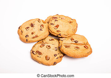 Pecan Chocolate Chip Cookies on White